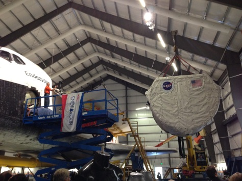 The comparatively easy first part of lifting the SPACEHAB into place. ©Matt Vasko